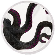 Black And Purple Octopus Round Beach Towel by Stefanie Forck