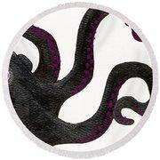 Black And Purple Octopus Round Beach Towel