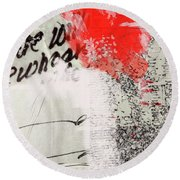 Round Beach Towel featuring the painting Black And Red 4 by Nancy Merkle