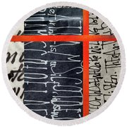 Round Beach Towel featuring the painting Black And Red 7 by Nancy Merkle