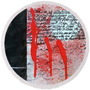 Round Beach Towel featuring the painting Black And Red 8 by Nancy Merkle