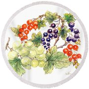 Black And Red Currants With Green Grapes Round Beach Towel by Nell Hill