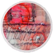 Round Beach Towel featuring the painting Black And Red Encaustic 3 by Nancy Merkle