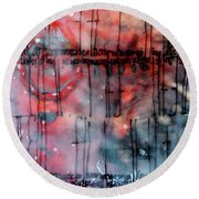 Round Beach Towel featuring the painting Black And Red Encaustic 4 by Nancy Merkle