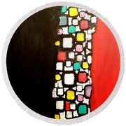 Black And Red Round Beach Towel