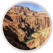 Black And Silver Bridges Spanning The Colorado River  Grand Canyon National Park Round Beach Towel