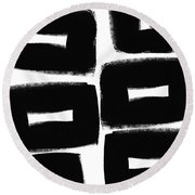 Black And White Abstract- Abstract Painting Round Beach Towel