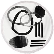 Black And White- Abstract Art Round Beach Towel
