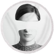 Black And White Abstract Woman Portrait Of Identity Theft Concept Round Beach Towel by Radu Bercan
