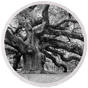 Black And White Angel Oak Tree Round Beach Towel