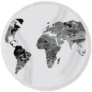 Black And White Art World Map Round Beach Towel