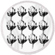 Round Beach Towel featuring the mixed media Black And White Artichokes- Art By Linda Woods by Linda Woods