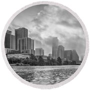 Black And White Austin Skyline On A Foggy Morning 1 Round Beach Towel