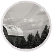 Round Beach Towel featuring the photograph Black And White Barn by Joann Copeland-Paul