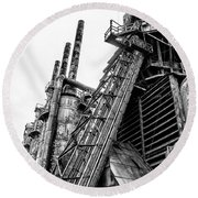Black And White - Bethlehem Steel Mill Round Beach Towel by Bill Cannon