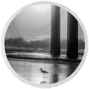 Round Beach Towel featuring the photograph Black And White Bird Beach by John McGraw