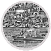 Round Beach Towel featuring the photograph Black And White Boat by Jim Walls PhotoArtist