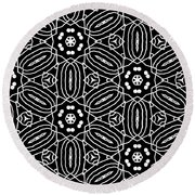 Black And White Boho Pattern 2- Art By Linda Woods Round Beach Towel