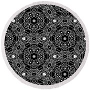 Black And White Boho Pattern 3- Art By Linda Woods Round Beach Towel