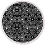 Black And White Boho Pattern 3- Art By Linda Woods Round Beach Towel by Linda Woods