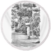 Round Beach Towel featuring the photograph Black And White Bread Lady by Jim Walls PhotoArtist