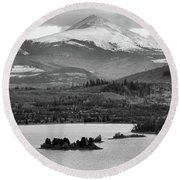 Round Beach Towel featuring the photograph Black And White Breckenridge by Dan Sproul
