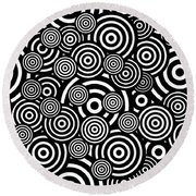 Black And White Bullseye Abstract Pattern Round Beach Towel by Saundra Myles
