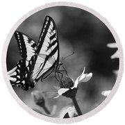 Black And White Butterfly On Flower Round Beach Towel