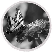 Black And White Butterfly On Zinnia Round Beach Towel