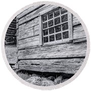 Black And White Cabin In The Forest Round Beach Towel