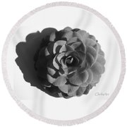 Camellia In Black And White Round Beach Towel