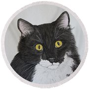 Black And White Cat Round Beach Towel by Megan Cohen