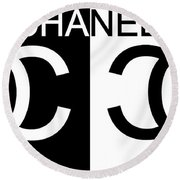 Black And White Chanel 2 Round Beach Towel