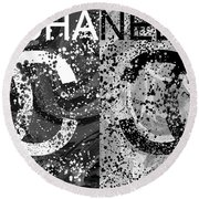 Black And White Chanel Art Round Beach Towel