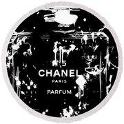 Black And White Chanel Splatter Round Beach Towel