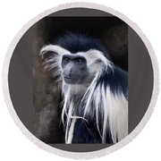Black And White Colobus Monkey Round Beach Towel by Penny Lisowski