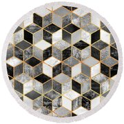 Black And White Cubes Round Beach Towel