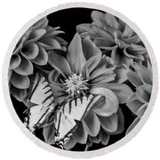 Black And White Dahlias And Butterfly Round Beach Towel