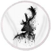 Black And White Deer Head Watercolor Silhouette Round Beach Towel