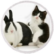 Black And White Double Act Round Beach Towel