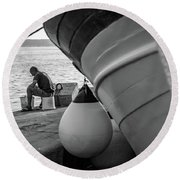 Black And White - Fisherman Cleaning Fish On Docks Of Kastel Gomilica, Split Croatia Round Beach Towel