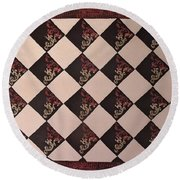 Black And White Checkered Floor Cloth Round Beach Towel