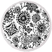 Black And White Floral Doodle Round Beach Towel
