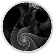 Black And White Fractal 080810 Round Beach Towel by David Lane