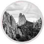 Round Beach Towel featuring the photograph Black And White Garden Of The Gods by Marilyn Hunt