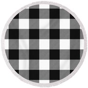 Black And White Gingham Large- Art By Linda Woods Round Beach Towel