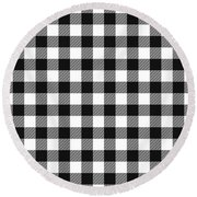 Black And White Gingham Small- Art By Linda Woods Round Beach Towel