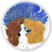 Romantic Kissing With Stars In Their Hair Round Beach Towel by Lucy Frost