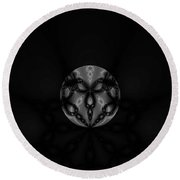 Black And White Globe Fractal Round Beach Towel