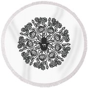 Black And White Hamsa Mandala- Art By Linda Woods Round Beach Towel by Linda Woods